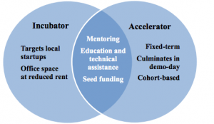 Venn Diagram of incubators and accelerators